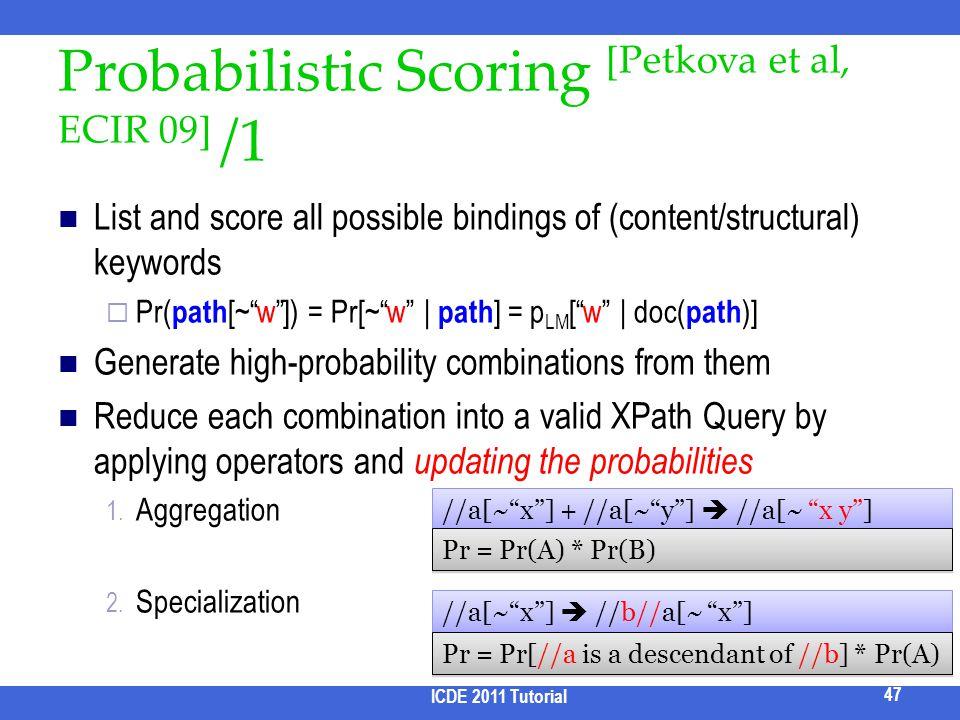 Probabilistic Scoring [Petkova et al, ECIR 09] /1 List and score all possible bindings of (content/structural) keywords Pr( path [~w]) = Pr[~w | path