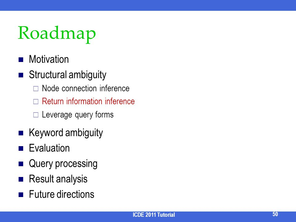 Roadmap Motivation Structural ambiguity Node connection inference Return information inference Leverage query forms Keyword ambiguity Evaluation Query