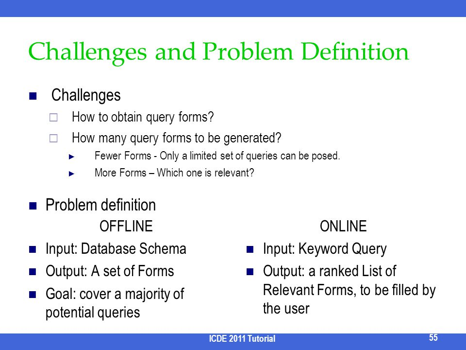 Challenges and Problem Definition Challenges How to obtain query forms? How many query forms to be generated? Fewer Forms - Only a limited set of quer