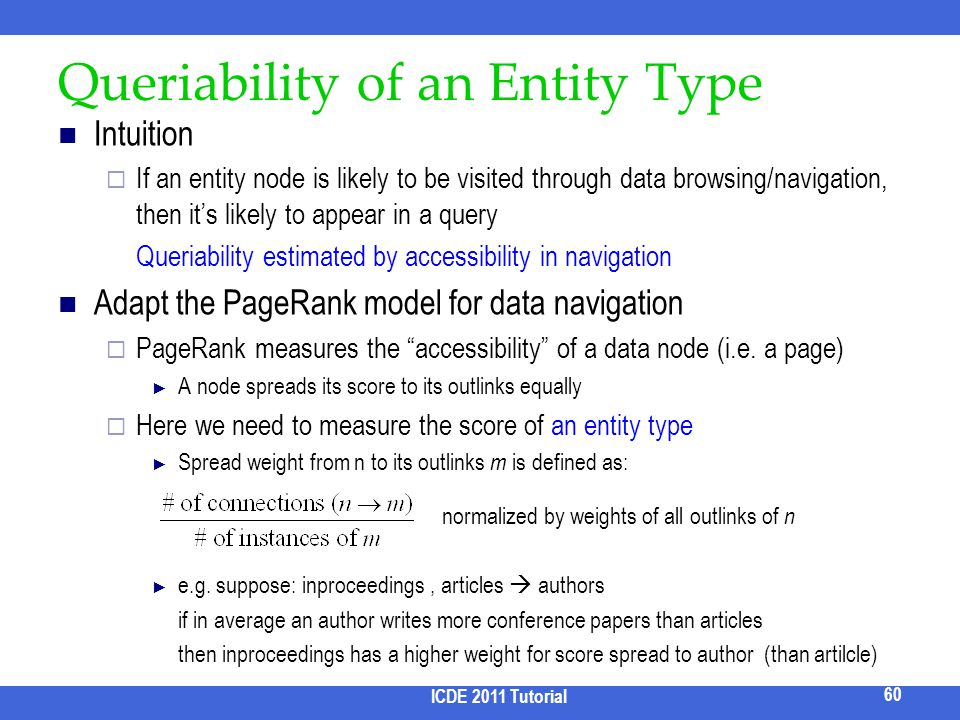 Queriability of an Entity Type Intuition If an entity node is likely to be visited through data browsing/navigation, then its likely to appear in a qu