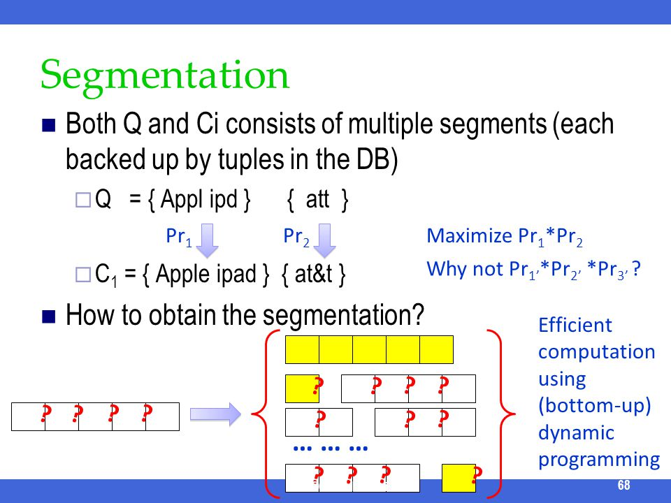 Segmentation Both Q and Ci consists of multiple segments (each backed up by tuples in the DB) Q = { Appl ipd } { att } C 1 = { Apple ipad } { at&t } H