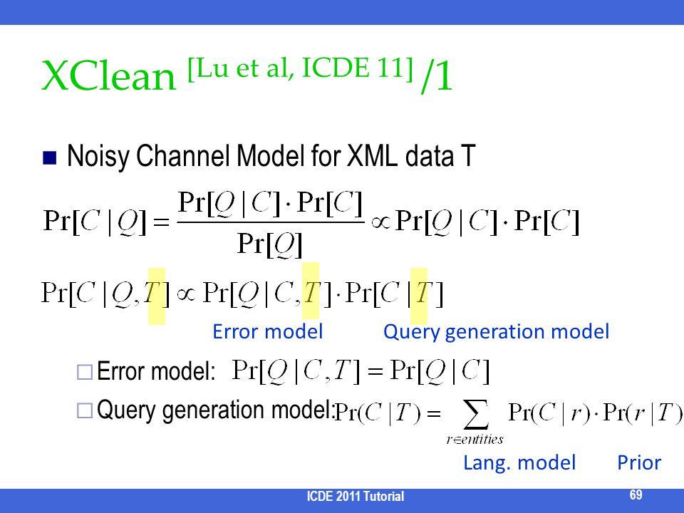 XClean [Lu et al, ICDE 11] /1 Noisy Channel Model for XML data T Error model: Query generation model: ICDE 2011 Tutorial 69 Error modelQuery generatio