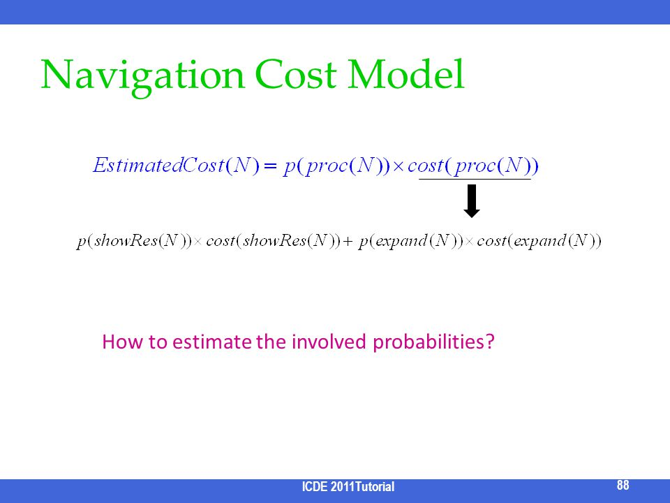Navigation Cost Model ICDE 2011 Tutorial 88 How to estimate the involved probabilities? ICDE 2011Tutorial 88