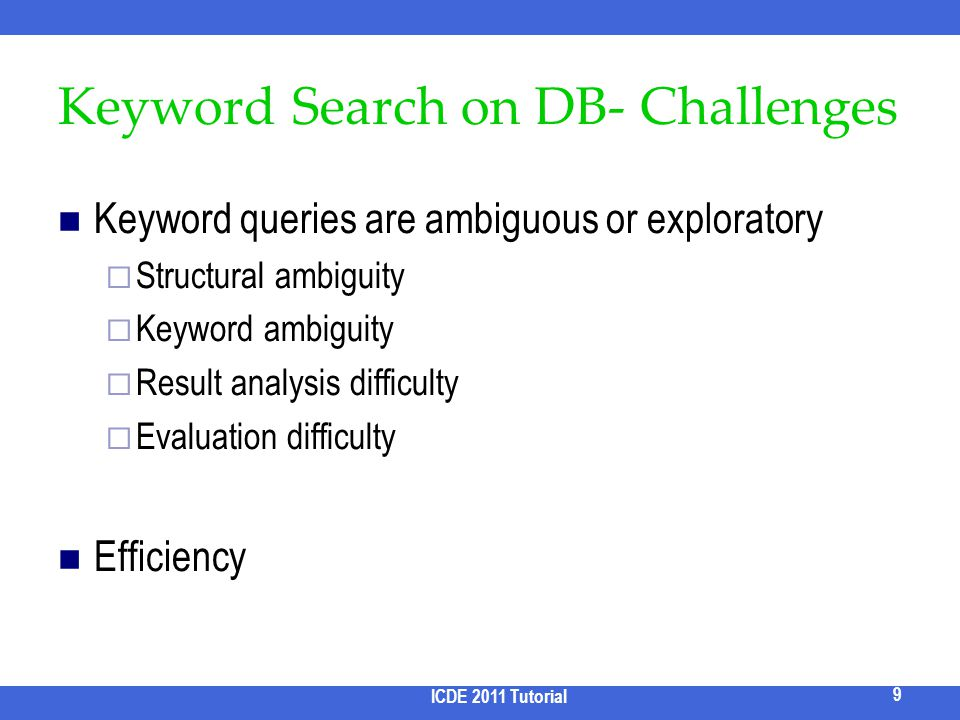 Keyword Search on DB- Challenges Keyword queries are ambiguous or exploratory Structural ambiguity Keyword ambiguity Result analysis difficulty Evalua