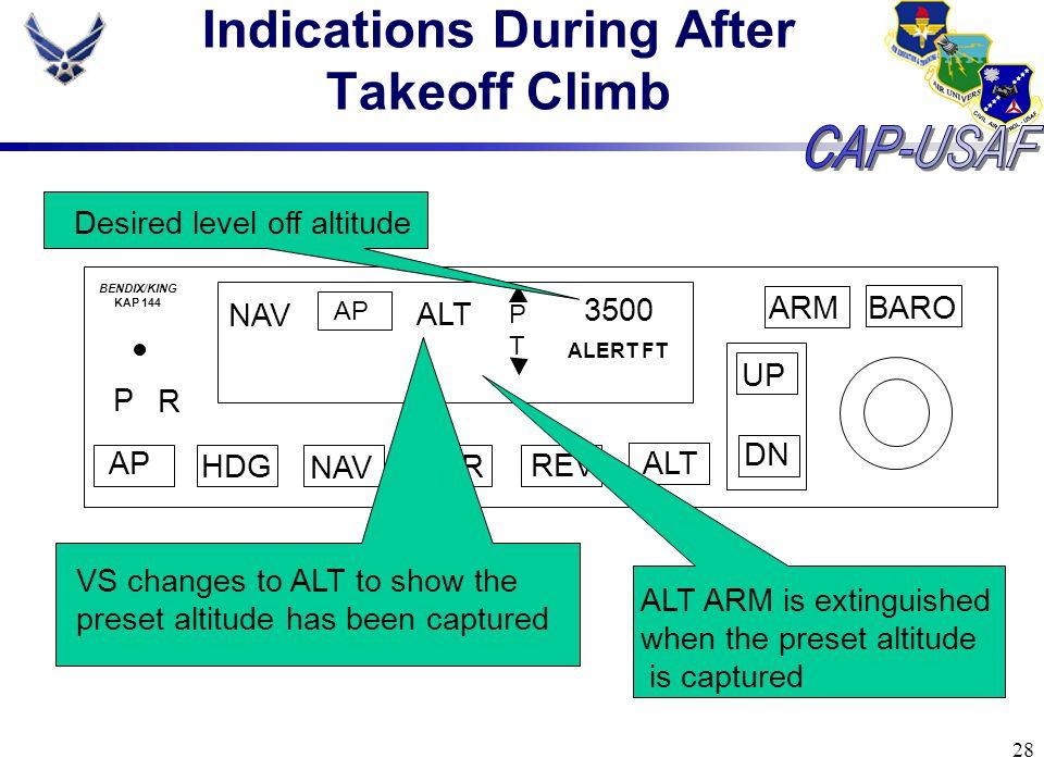 28 Indications During After Takeoff Climb BARO ARM UP DN AP HDG NAV APR REV ALT P R NAV AP ALT PTPT 3500 ALERT FT BENDIX/KING KAP 144 Desired level of