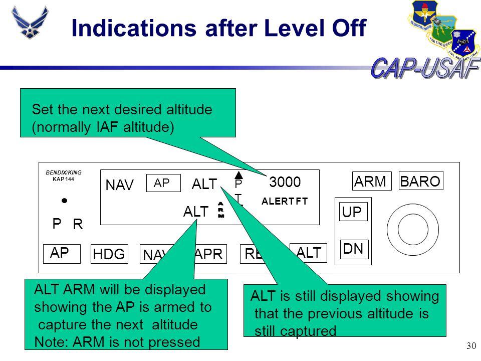 30 Indications after Level Off BARO ARM UP DN AP HDG NAV APR REV ALT P R NAV AP ALT PTPT 3000 ALERT FT BENDIX/KING KAP 144 ALT Set the next desired al