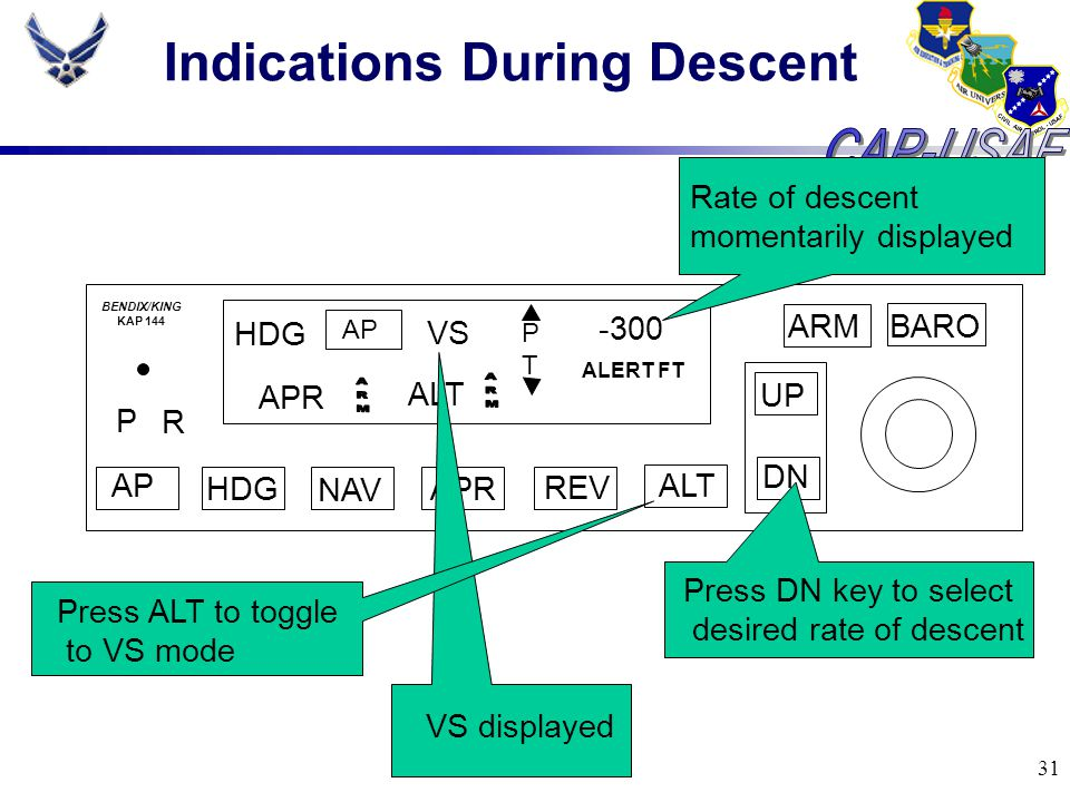31 Indications During Descent BARO ARM UP DN AP HDG NAV APR REV ALT P R HDG AP VS PTPT -300 ALERT FT BENDIX/KING KAP 144 ALT APR Press ALT to toggle t