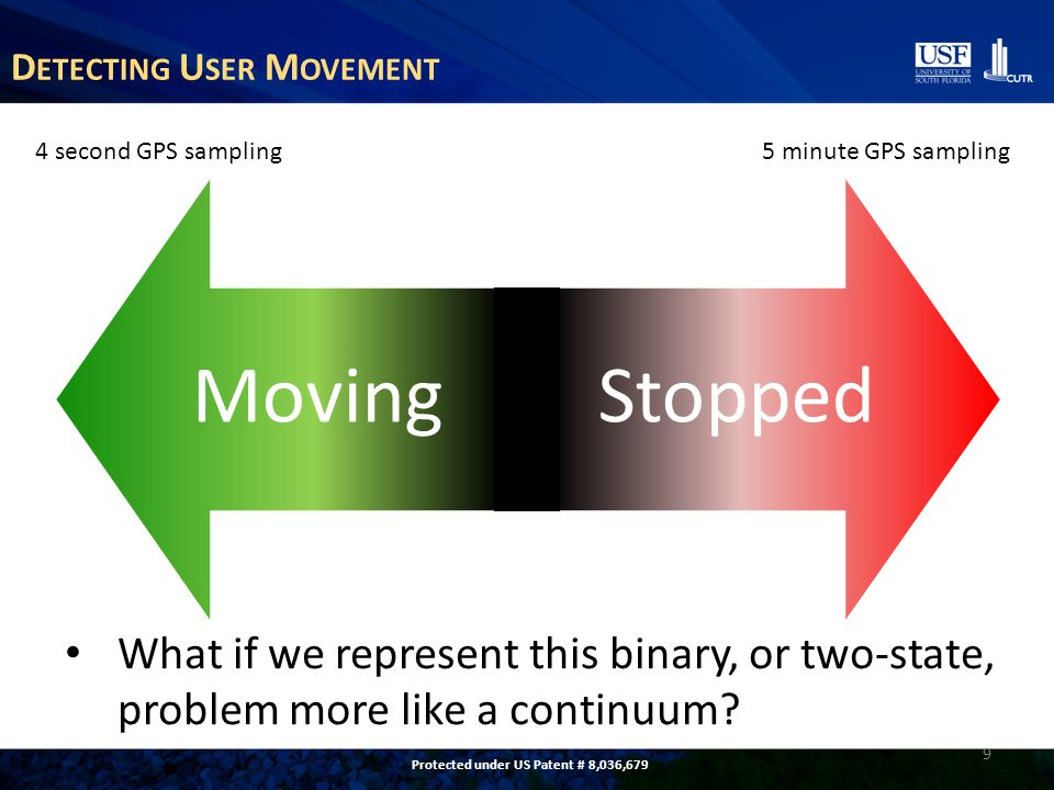 D ETECTING U SER M OVEMENT MovingStopped 9 4 second GPS sampling 5 minute GPS sampling What if we represent this binary, or two-state, problem more like a continuum.