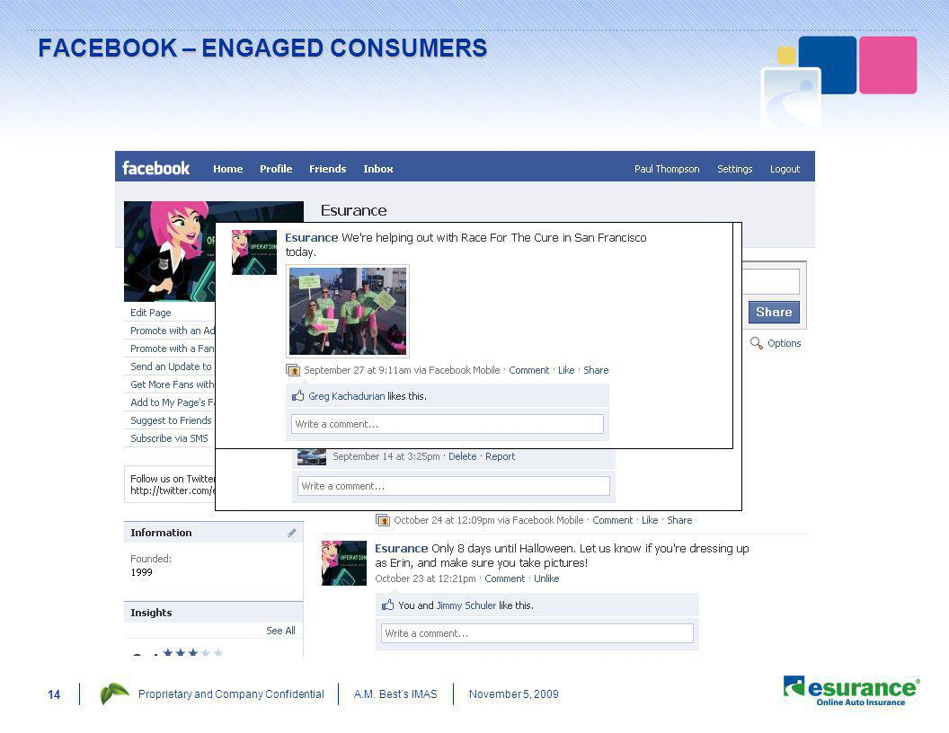 November 5, 2009Proprietary and Company ConfidentialA.M. Bests IMAS 14 FACEBOOK – ENGAGED CONSUMERS