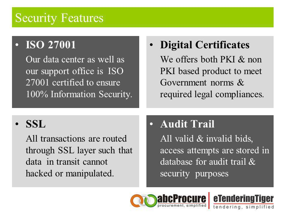 Security Features ISO 27001 Our data center as well as our support office is ISO 27001 certified to ensure 100% Information Security. Digital Certific