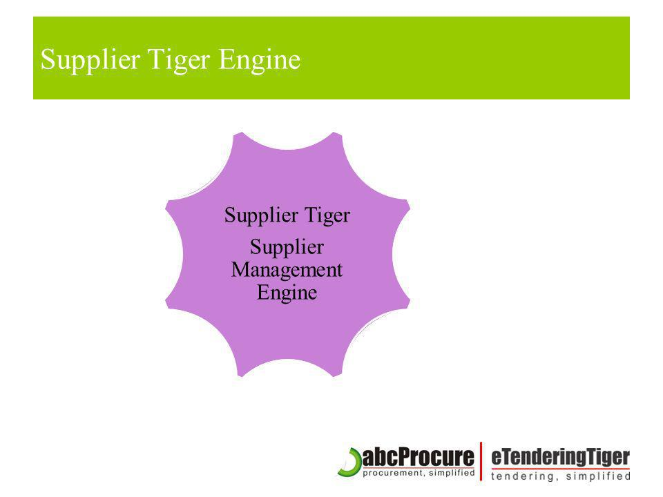 Supplier Tiger Supplier Management Engine Tender Configuration Tender Document Library Dynamic Form Engine Pre Bid Meeting / Addendum Bid Submission W