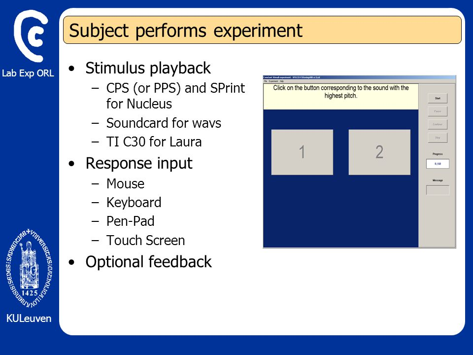 Lab Exp ORL KULeuven Subject performs experiment Stimulus playback –CPS (or PPS) and SPrint for Nucleus –Soundcard for wavs –TI C30 for Laura Response input –Mouse –Keyboard –Pen-Pad –Touch Screen Optional feedback