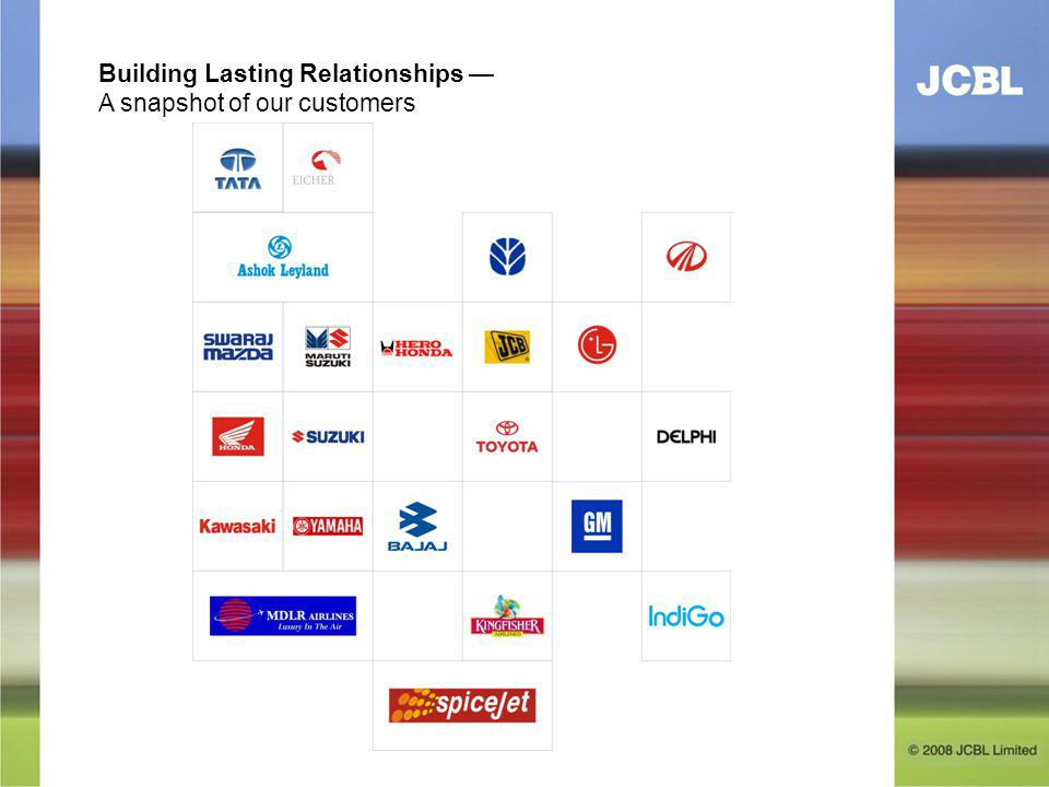 Building Lasting Relationships A snapshot of our customers