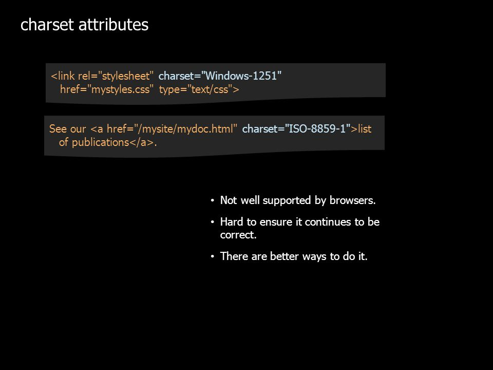 charset attributes Not well supported by browsers.