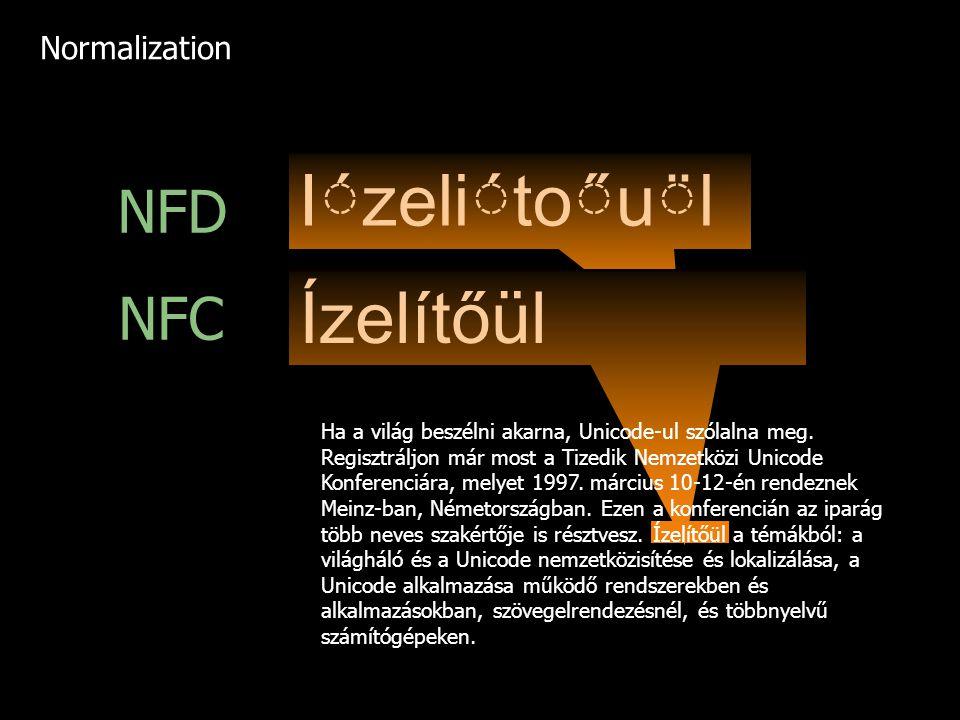 Ízelítőül NFD Ízelítőül NFC Ha a világ beszélni akarna, Unicode-ul szólalna meg. Regisztráljon már most a Tizedik Nemzetközi Unicode Konferenciára
