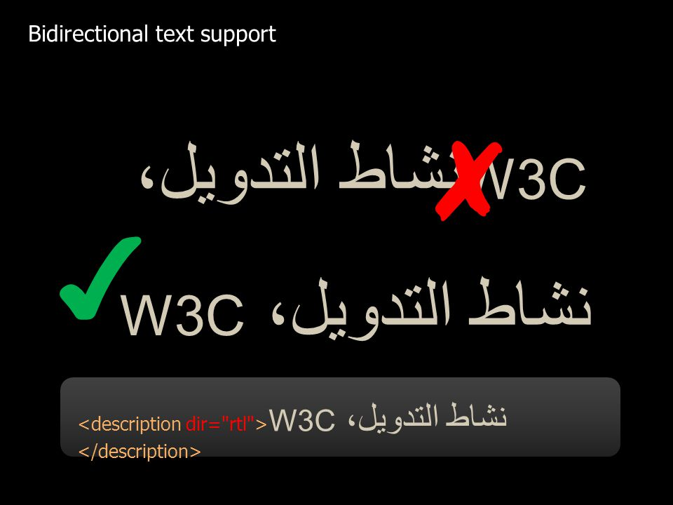 نشاط التدويل، W3C W3C نشاط التدويل، W3C نشاط التدويل، Bidirectional text support