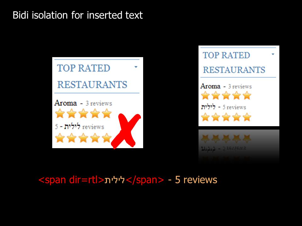 Bidi isolation for inserted text לילית - 5 reviews
