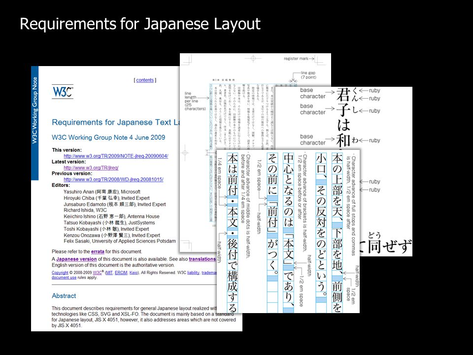 Requirements for Japanese Layout