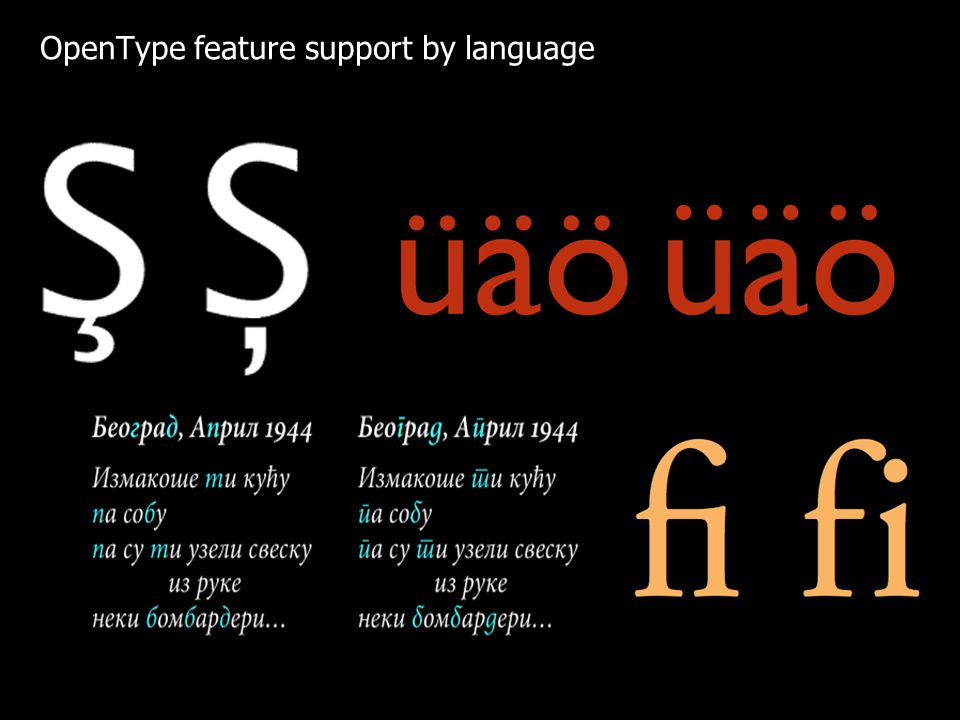 OpenType feature support by language