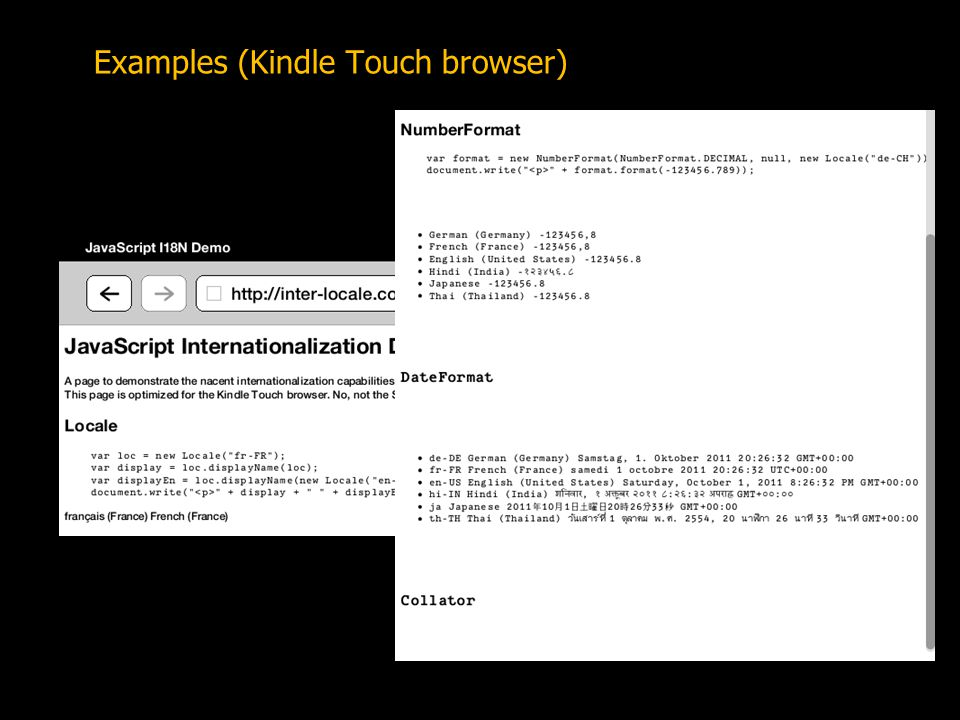 Examples (Kindle Touch browser)