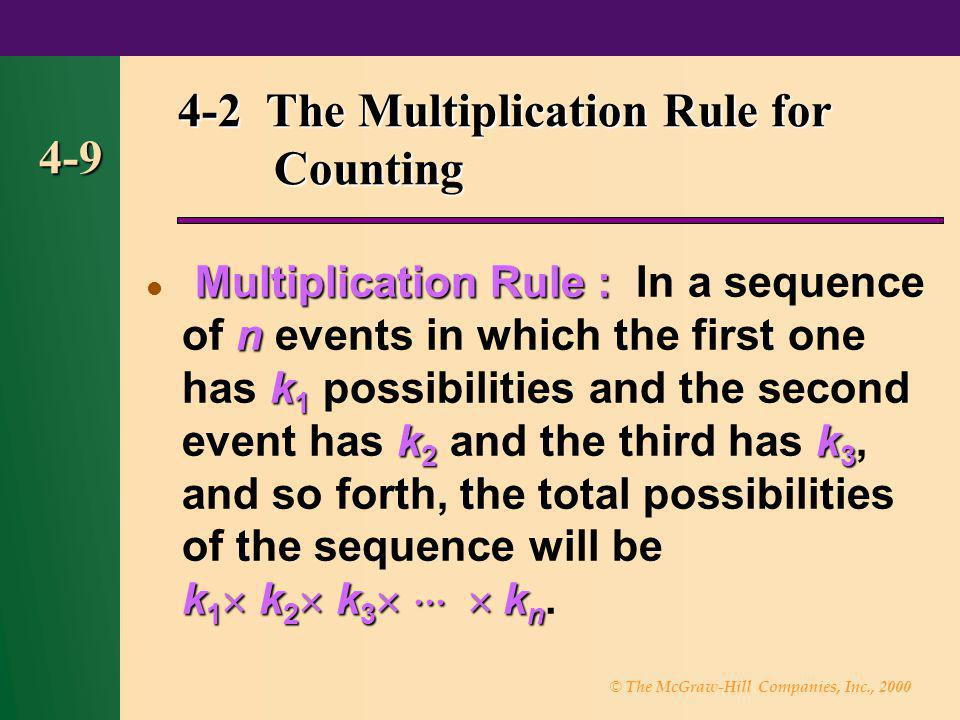 © The McGraw-Hill Companies, Inc., 2000 4-9 4-2 The Multiplication Rule for Counting Multiplication Rule : n k 1 k 2 k 3 k 1 k 2 k 3 k n Multiplicatio