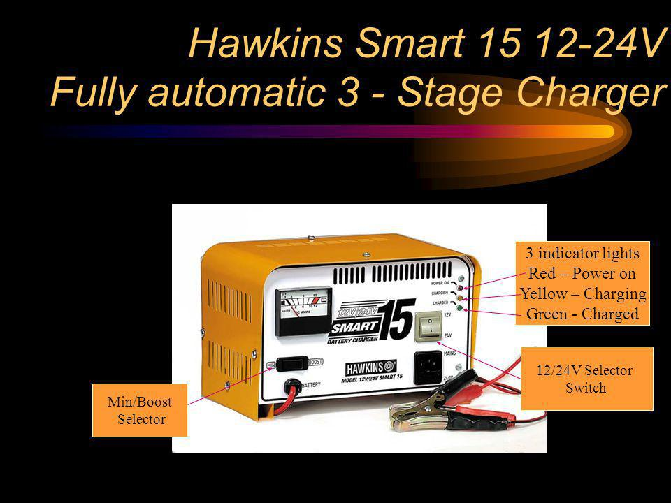 Hawkins Smart 15 12-24V Fully automatic 3 - Stage Charger 3 indicator lights Red – Power on Yellow – Charging Green - Charged 12/24V Selector Switch M