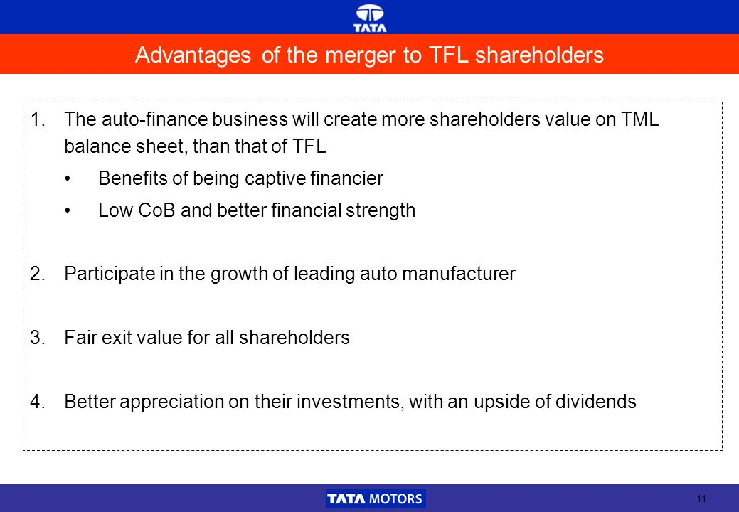 11 Advantages of the merger to TFL shareholders 1.The auto-finance business will create more shareholders value on TML balance sheet, than that of TFL