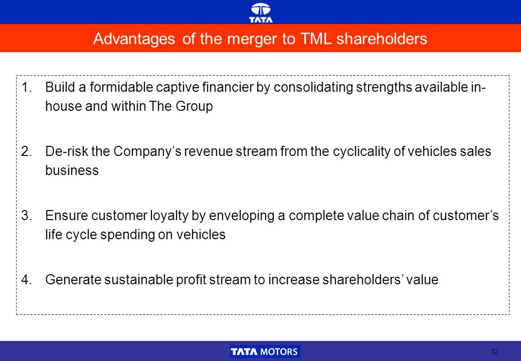 12 Advantages of the merger to TML shareholders 1.Build a formidable captive financier by consolidating strengths available in- house and within The G