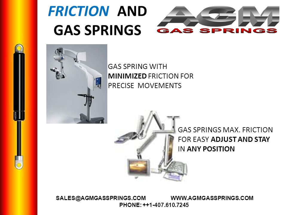 FRICTION AND GAS SPRINGS GAS SPRING WITH MINIMIZED FRICTION FOR PRECISE MOVEMENTS GAS SPRINGS MAX.