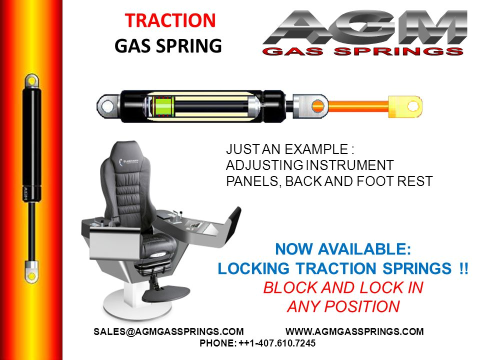 TRACTION GAS SPRING JUST AN EXAMPLE : ADJUSTING INSTRUMENT PANELS, BACK AND FOOT REST NOW AVAILABLE: LOCKING TRACTION SPRINGS !.