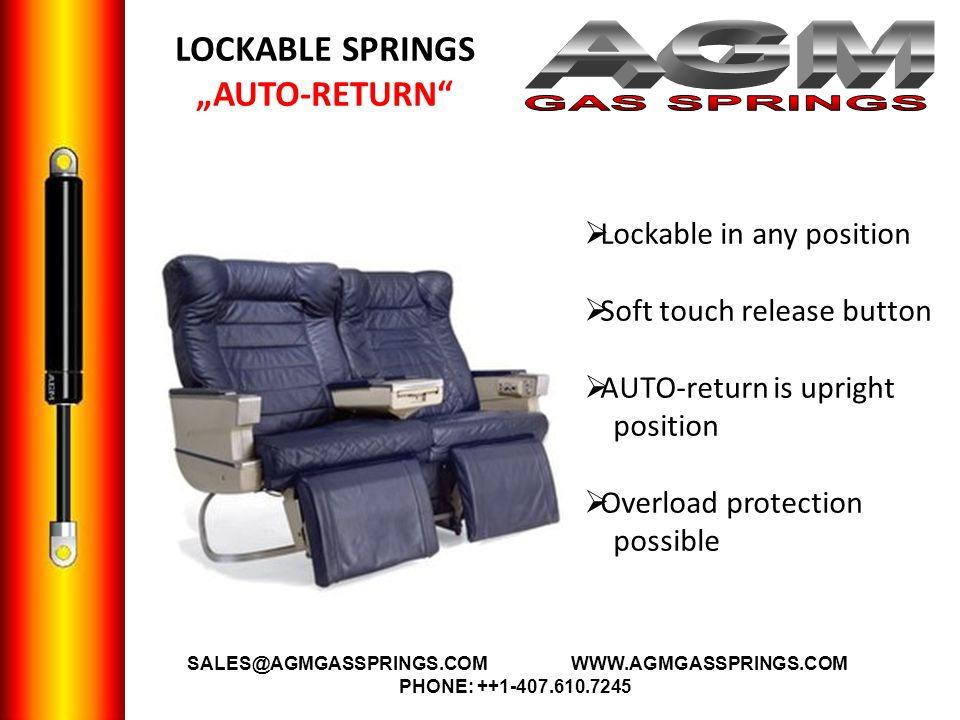 LOCKABLE SPRINGS AUTO-RETURN Lockable in any position Soft touch release button AUTO-return is upright position Overload protection possible A SALES@A