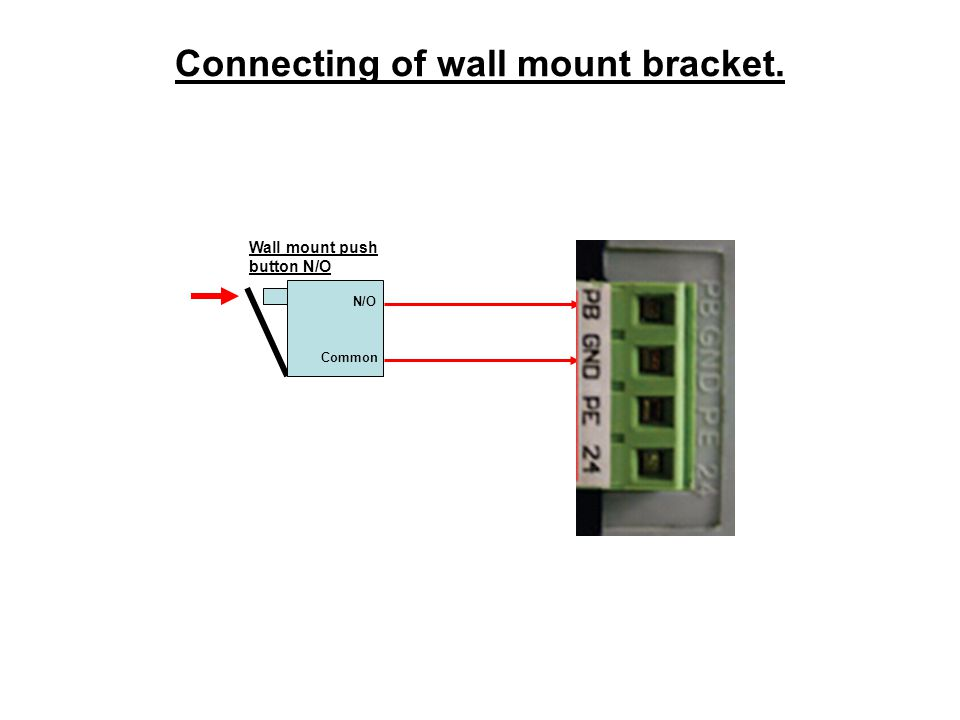 Connecting of wall mount bracket. Wall mount push button N/O Common N/O