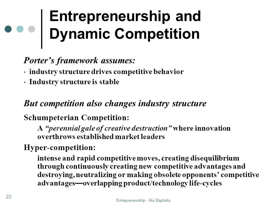 Entrepreneurship - Rui Baptista 23 Porters framework assumes: industry structure drives competitive behavior Industry structure is stable But competit