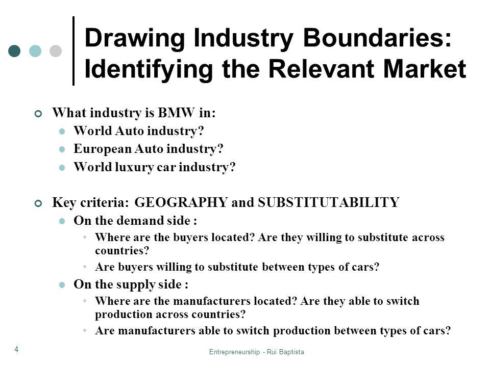 Entrepreneurship - Rui Baptista 4 What industry is BMW in: World Auto industry? European Auto industry? World luxury car industry? Key criteria: GEOGR