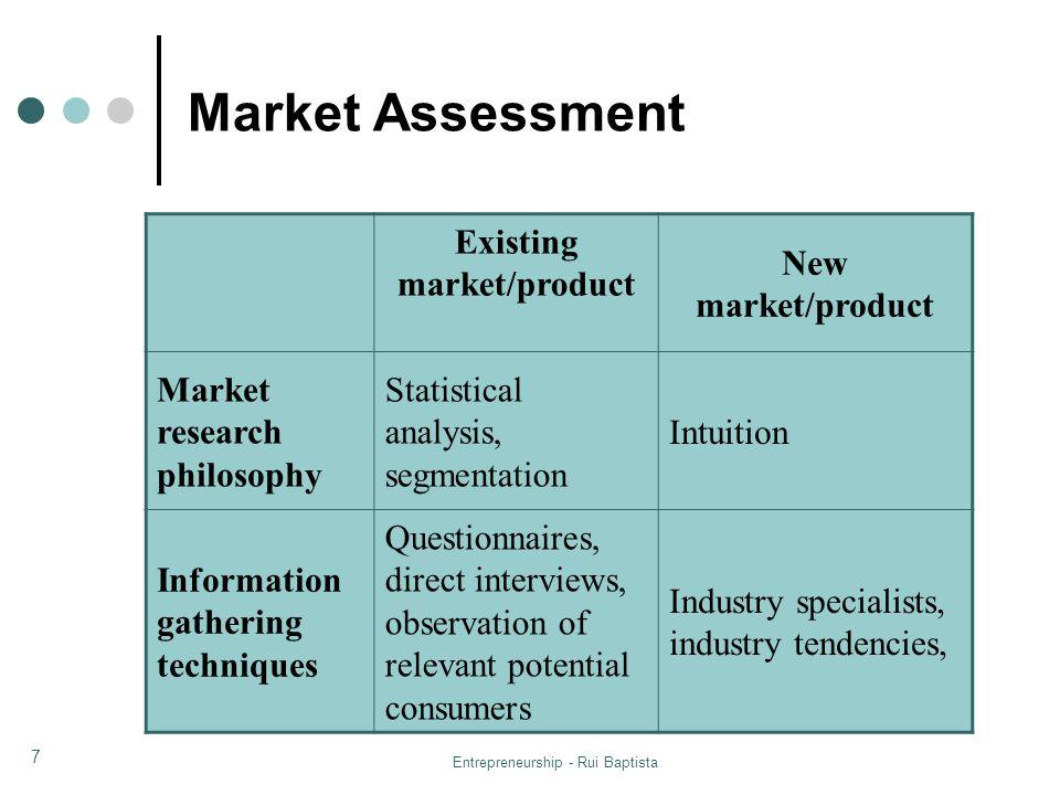 Entrepreneurship - Rui Baptista 7 Market Assessment Existing market/product New market/product Market research philosophy Statistical analysis, segmen