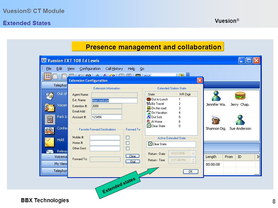 BBX Technologies 8 Vuesion ® Extended States Extended states Vuesion® CT Module Presence management and collaboration