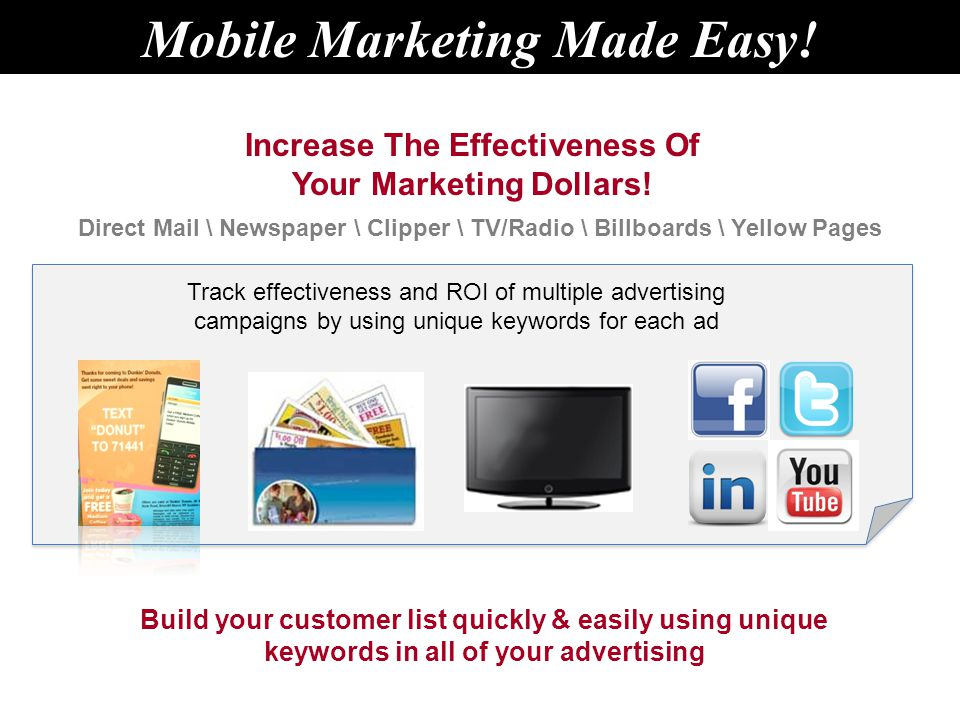 Increase The Effectiveness Of Your Marketing Dollars.