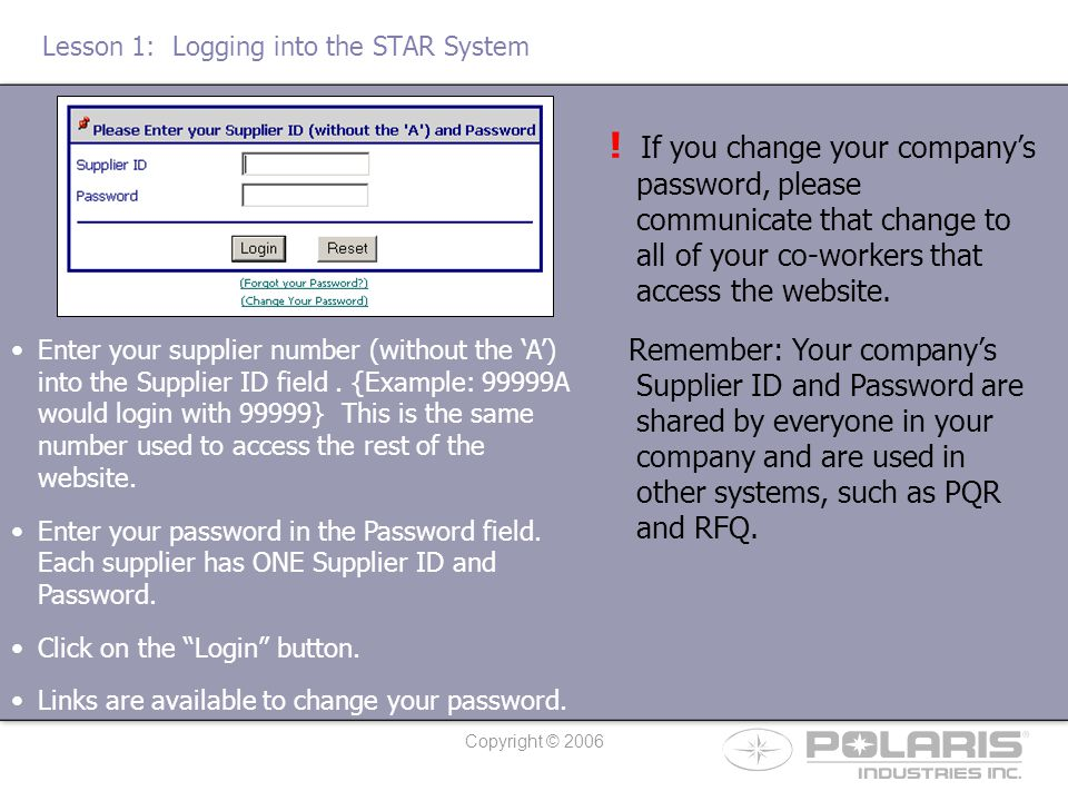 Copyright © 2006 Lesson 4: Searching STAR Suggestions Once logged into the STAR System (Lesson 1), click on the link titled Search STAR Suggestions.