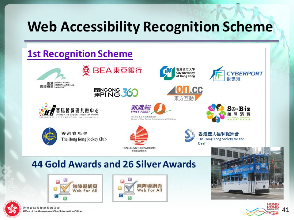 44 Gold Awards and 26 Silver Awards The Hong Kong Society for the Deaf Web Accessibility Recognition Scheme 1st Recognition Scheme 41