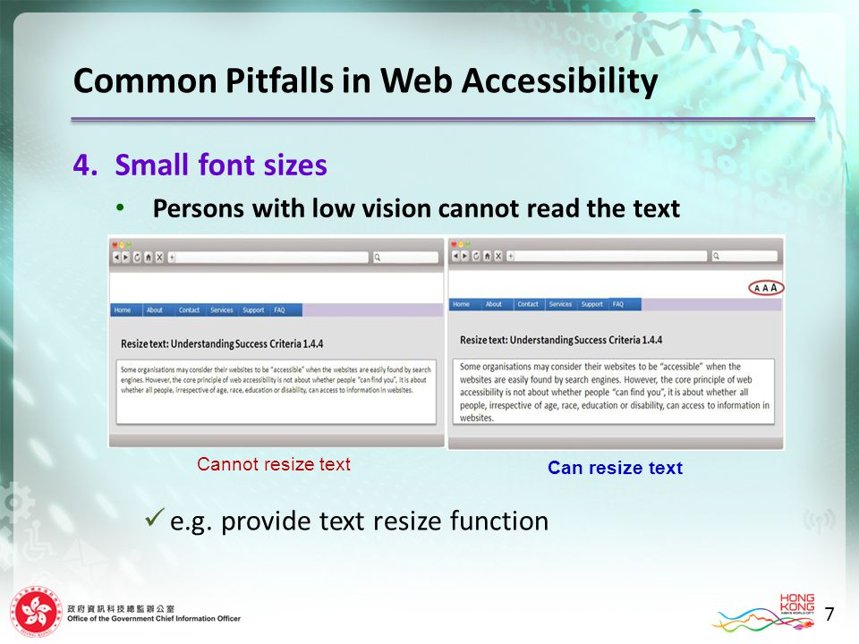 7 4.Small font sizes Persons with low vision cannot read the text Cannot resize text Can resize text e.g.
