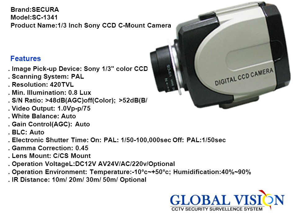 Brand:SONY Model:SSC-M388CE Product Name:1/3 Inch Interline B/W Camera Features. 1/3