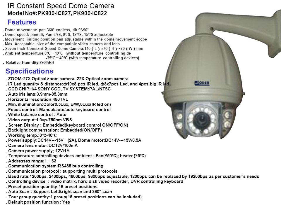 Brand: TIANDY Model:TC-D3627-CWMI Product Name:27X D/N Speed Dome Camera With CNB Module Features, 22X Speed Dome Camera with CNB Module. 1/4