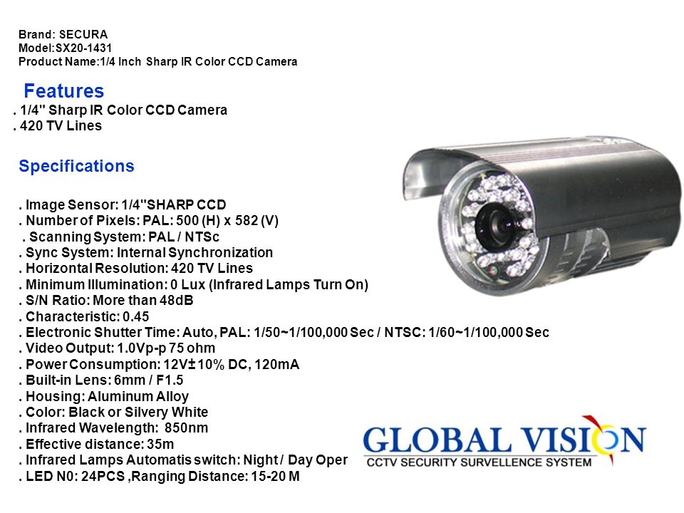 Brand:YOKO Model:YK-2B49 Product Name:1/3 Inch Sony CCD D/N 12 IR LED Camera Features. 1/3