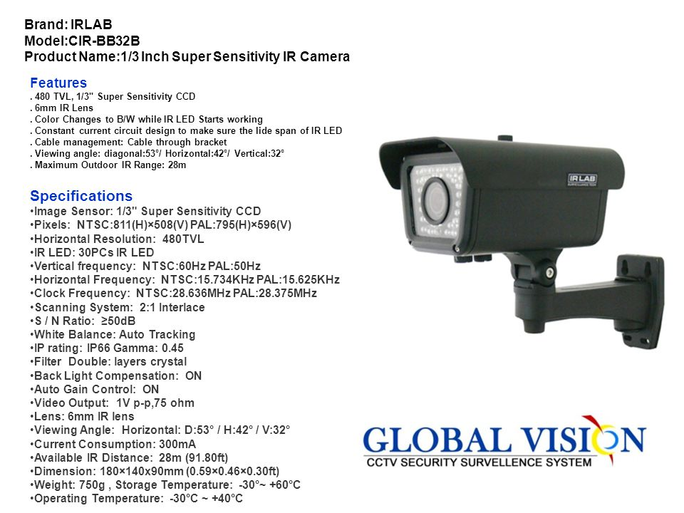 Brand: SECURA Model:SX20-1431 Product Name:1/4 Inch Sharp IR Color CCD Camera Features. 1/4