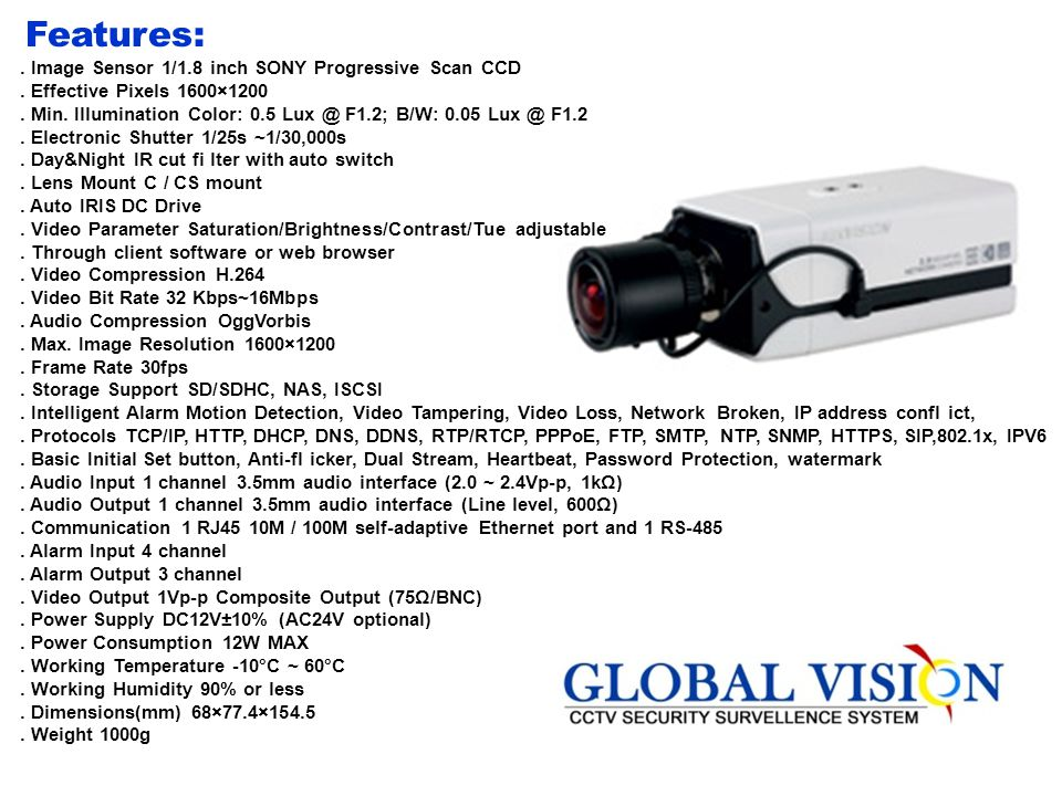 . Brand: Hik vision. Model Code:DS-2CD712PF(NF)-E Features. Colour type: colour. Chip inch size:1/3. Resolution:480. Sensitivity Lux:0.1@f-12. Auto Ir