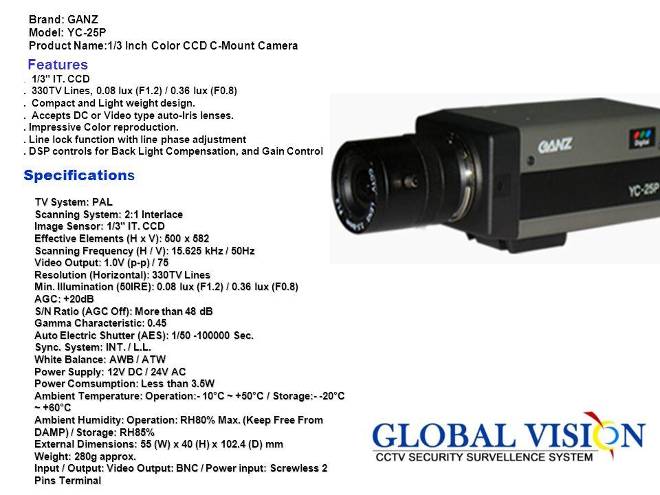 Model : GV110D045B.Image Device : 1/3 Sony Inter line CCD.
