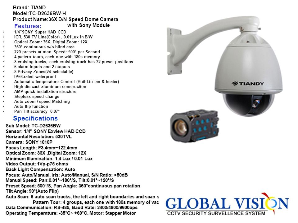 Brand: GANZ Model: YC-25P Product Name:1/3 Inch Color CCD C-Mount Camera Features. 1/3