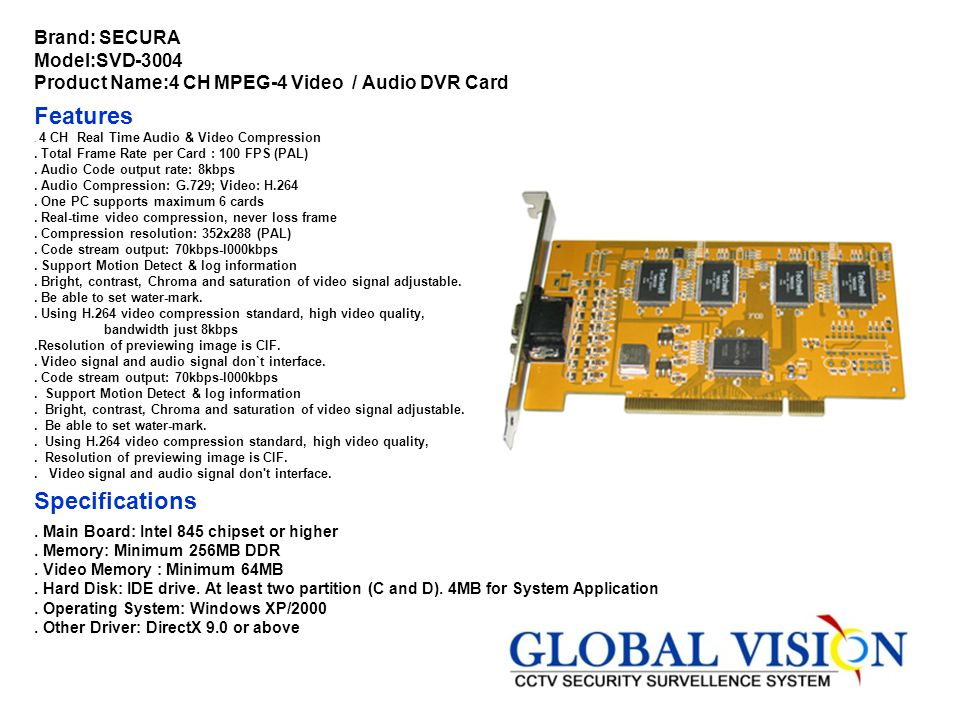 Brand: SECURA Model:SVD-8160 Product Name:16CH Video 8CH Audio Features. 16CH PCI or PCI-Ex High Speed Interface.. Enhanced H.264 compression, waterma