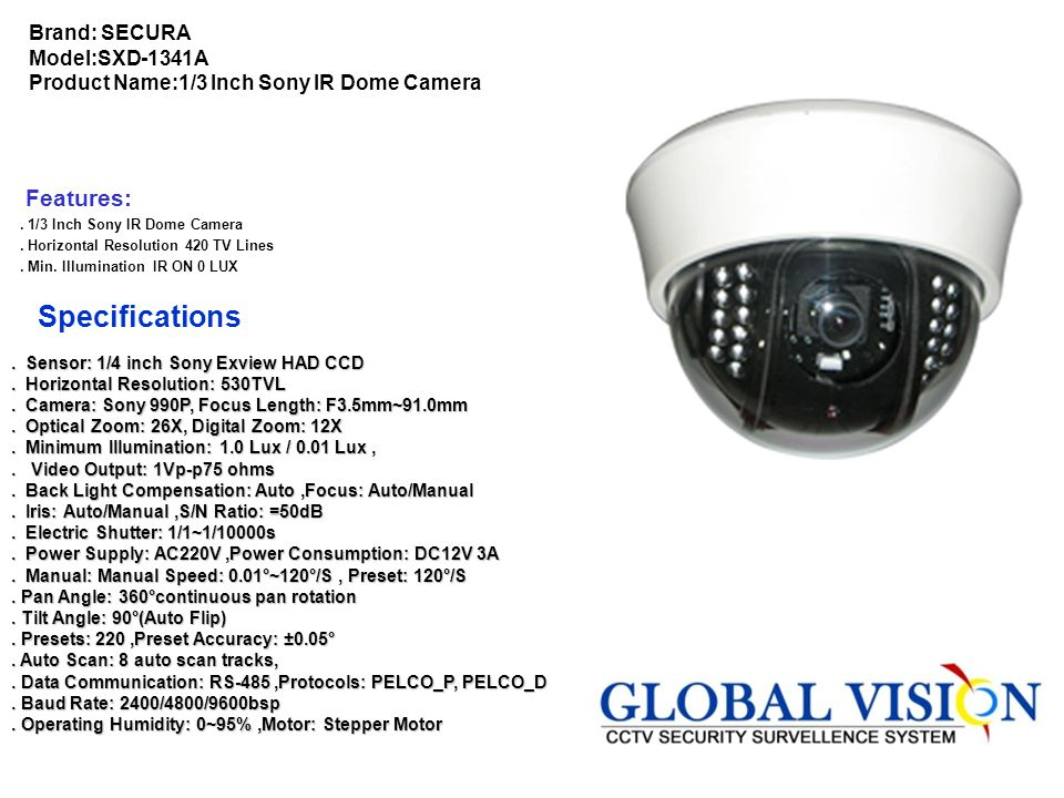Brand: TIANDY Model:TC-D2626IRW-H Product Name:26X IR High Speed Dome Camera Features. 1/4