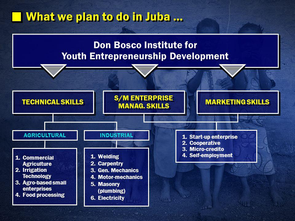 What we plan to do in Juba … Don Bosco Institute for Youth Entrepreneurship Development TECHNICAL SKILLS MARKETING SKILLS S/M ENTERPRISE MANAG.